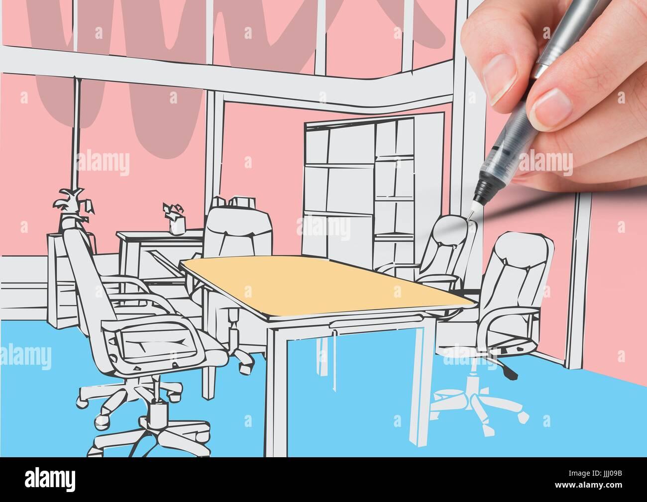 3d Hand Zeichnen Buro Von Linien Weisse Farben Stockfoto Bild