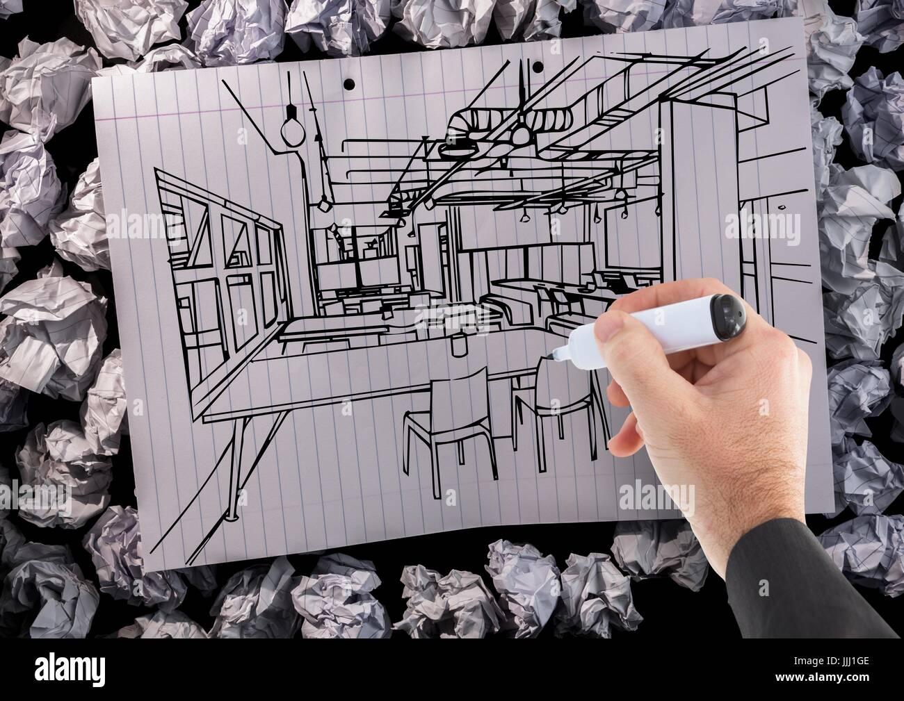 3d Hand Buro Linien Auf Papier Zeichnen Stockfoto Bild 149143134