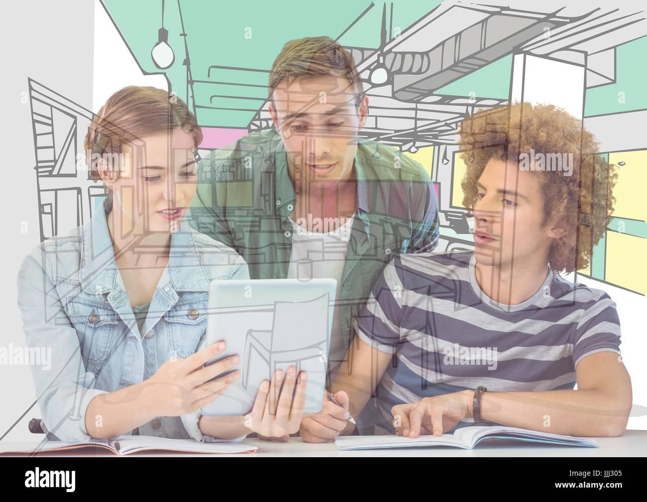 3 Junge Männer Und Frauen Auf Der Suche Auf Dem Tablet Die Auslosung