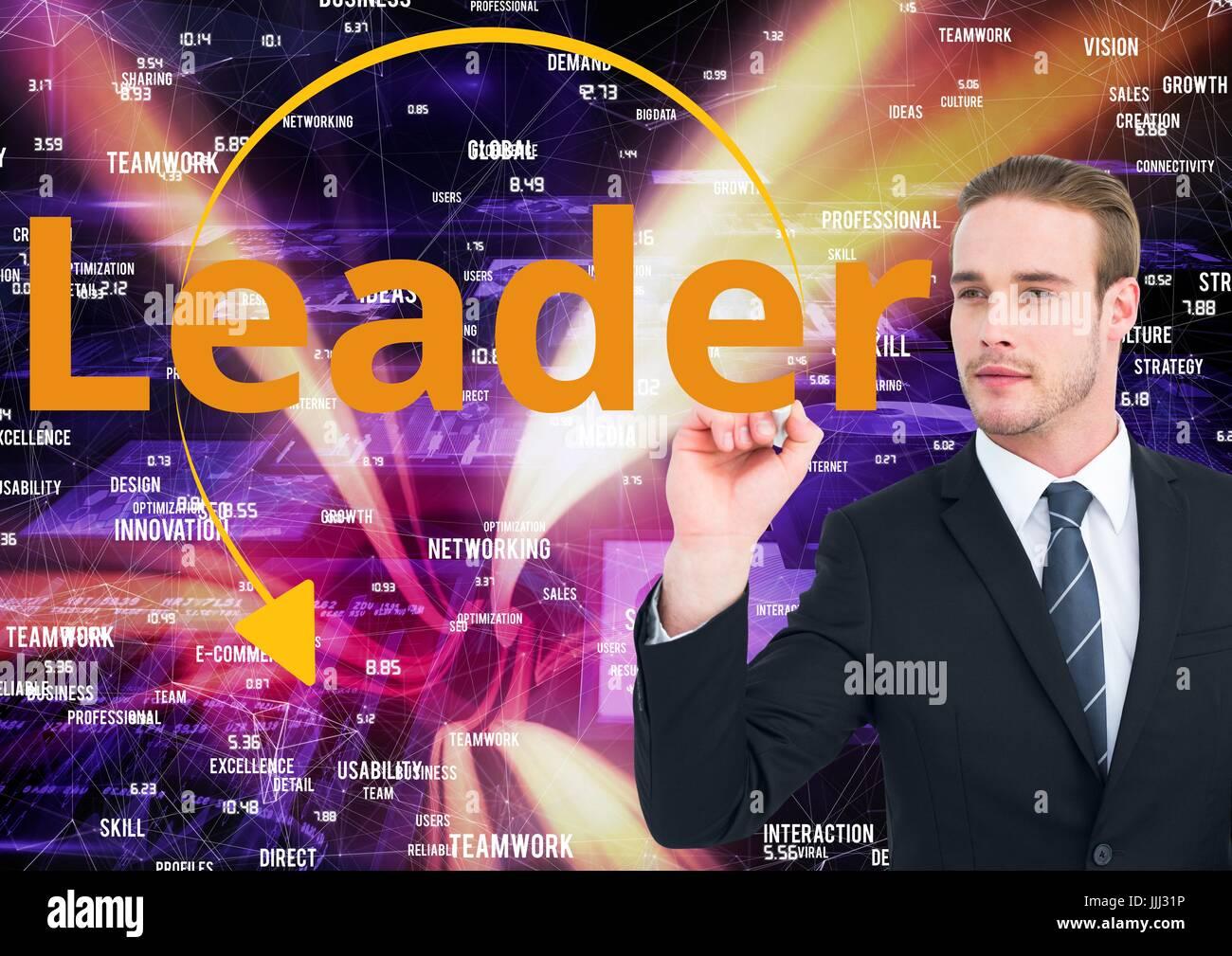 Geschäftsmann, Führer auf dem Bildschirm schreiben. Web-Markt-Hintergrund. Stockbild