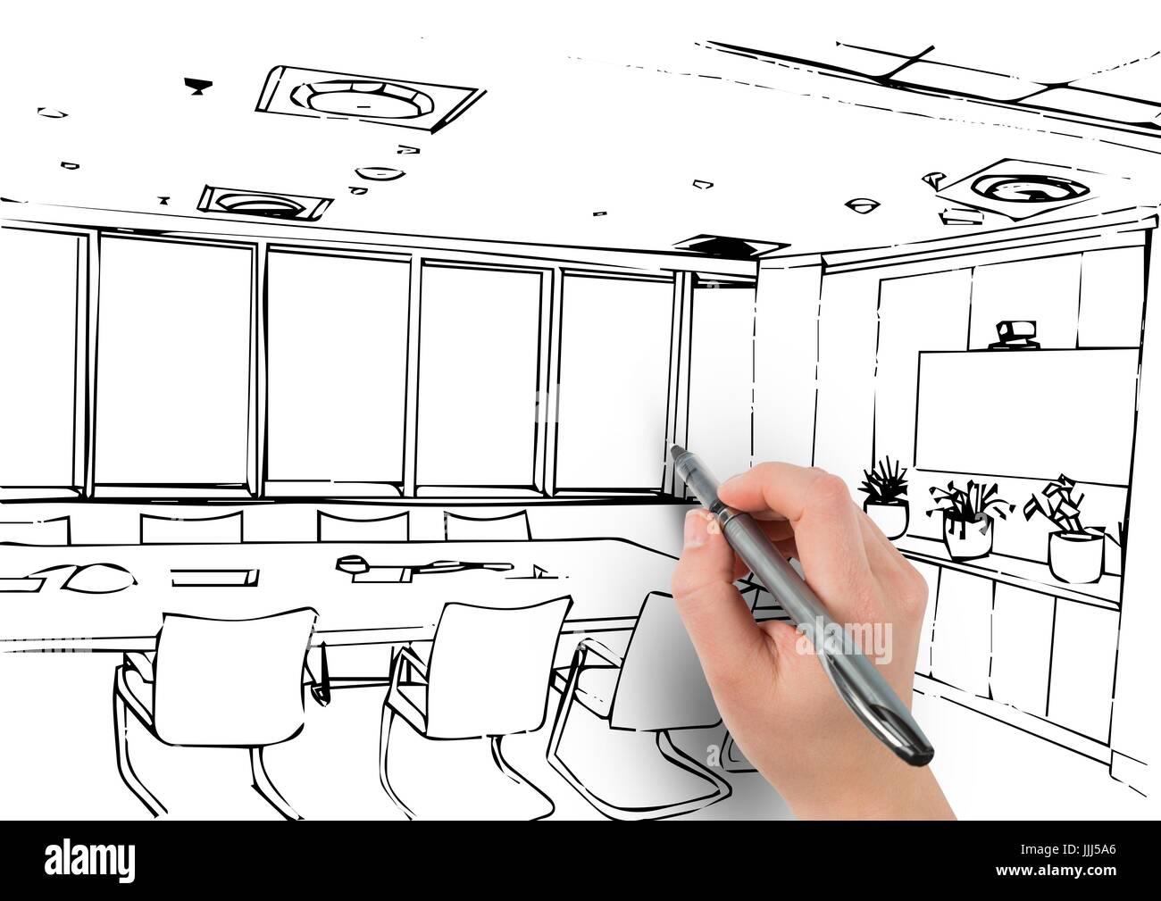 3d Hand Zeichnen Buro Von Linien Stockfoto Bild 149146094 Alamy
