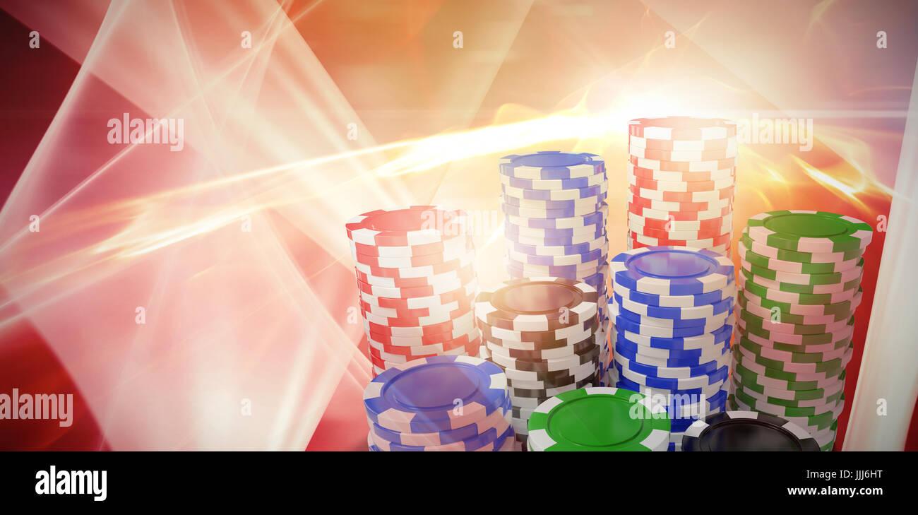Zusammengesetztes Bild des Computers generiert 3D-Bild des Glücksspiels chips Stockbild