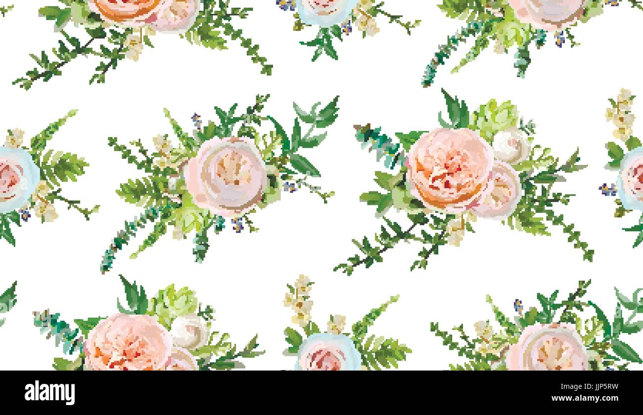 Nahtlose Vektormuster Blumenstrausse Von Rosa Weisse Garten Rose