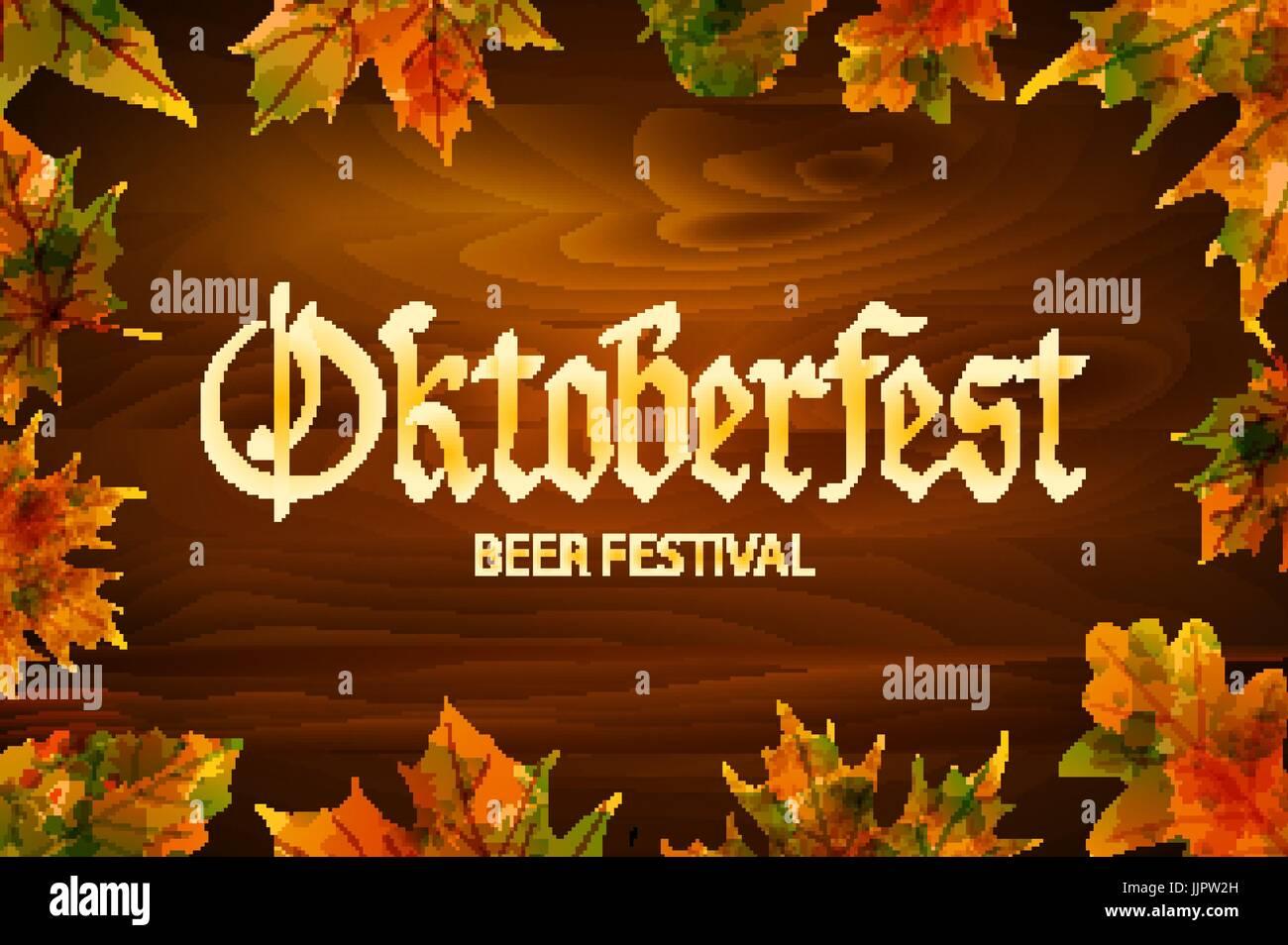 Oktoberfest-Vintage-Rahmen mit Bier und im Herbst Blätter auf dem ...