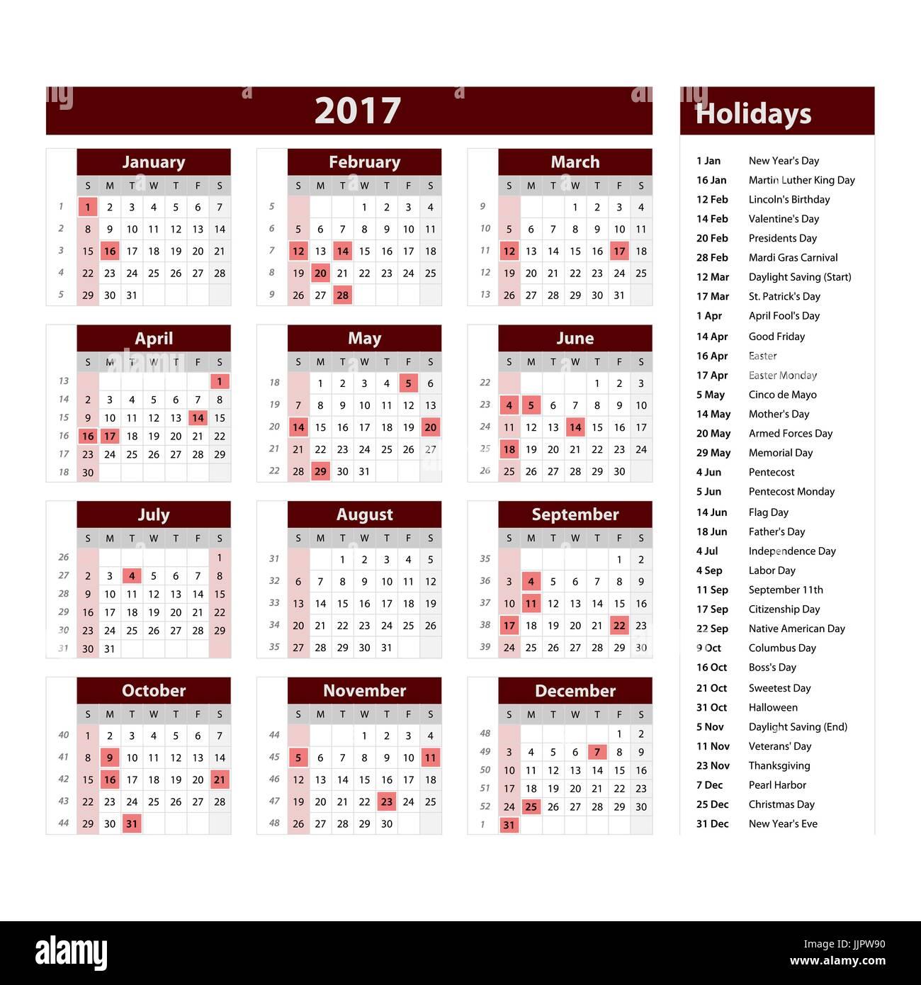 2017-Kalendervorlage. Horizontale Wochen. Ersten Tag Sonntag ...