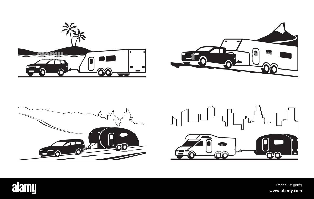 autos mit wohnwagen und wohnmobil  vektorillustration