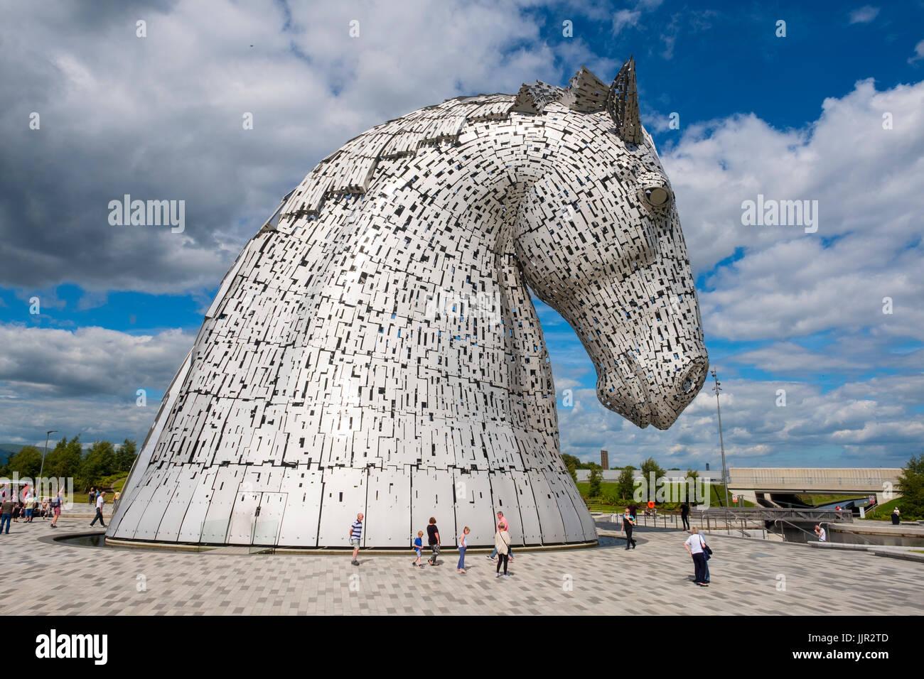 Die Kelpies Skulpturen im Helix Park, Falkirk, Schottland, Großbritannien. Stockbild