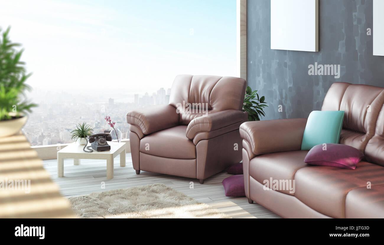 Brick Sofa Stockfotos & Brick Sofa Bilder - Alamy