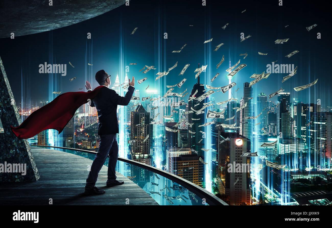 Geschäftsmann wie Superhelden haben eine gute Fähigkeit, verdienen Sie Geld, Erfolg und Reichtum Konzept. Stockbild