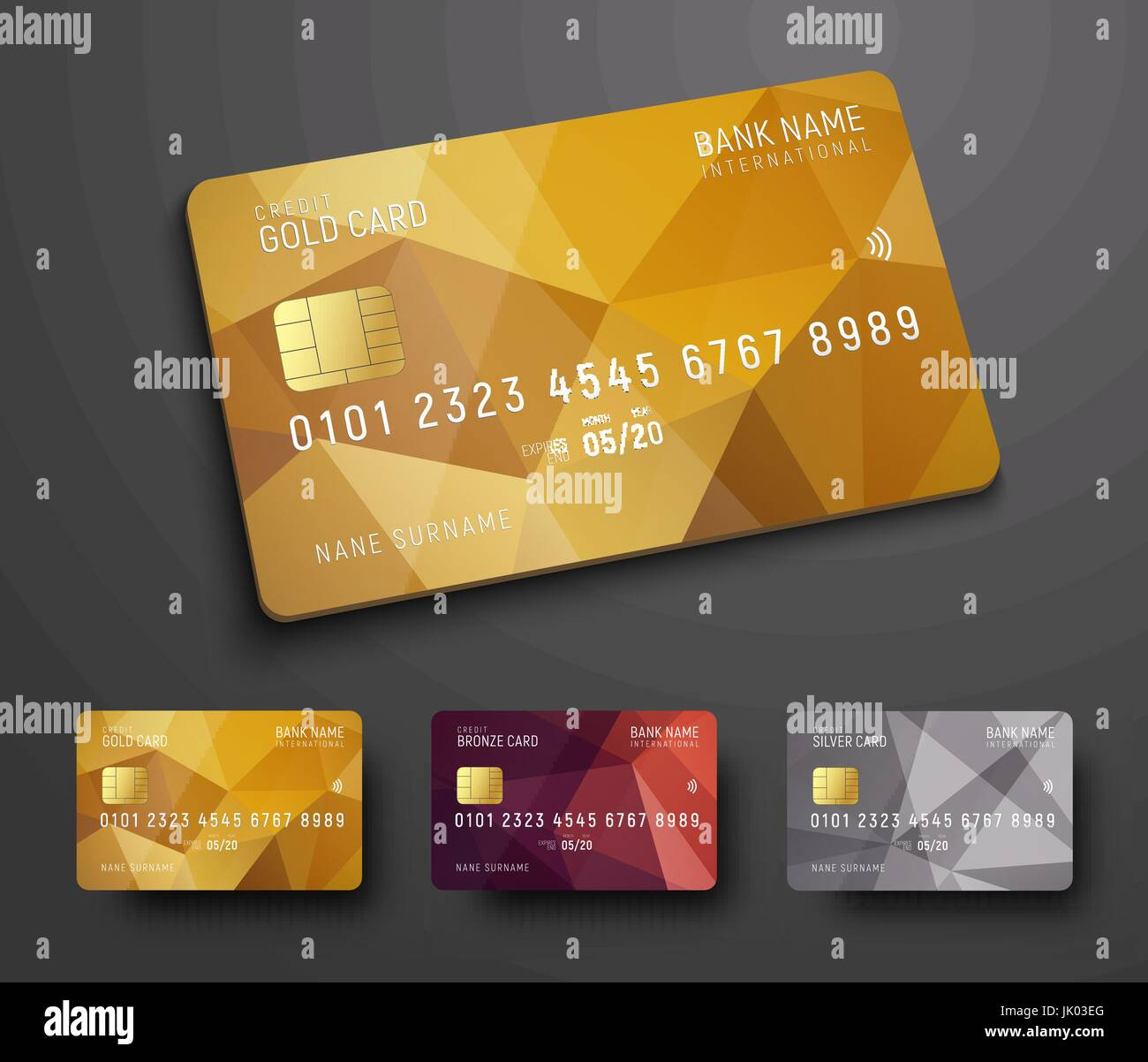 Entwurf einer (EC) Bank Kreditkarte mit einem gold, Bronze und ...