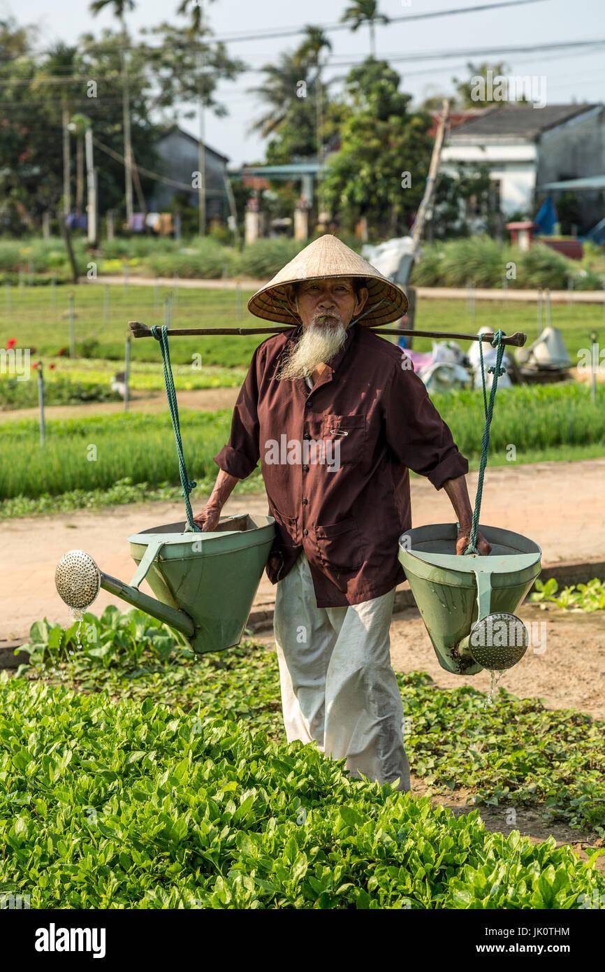 Vietnamesische Greis in seinen Neunzigern Bewässerung von Pflanzen mit schweren Gießkannen Stockbild
