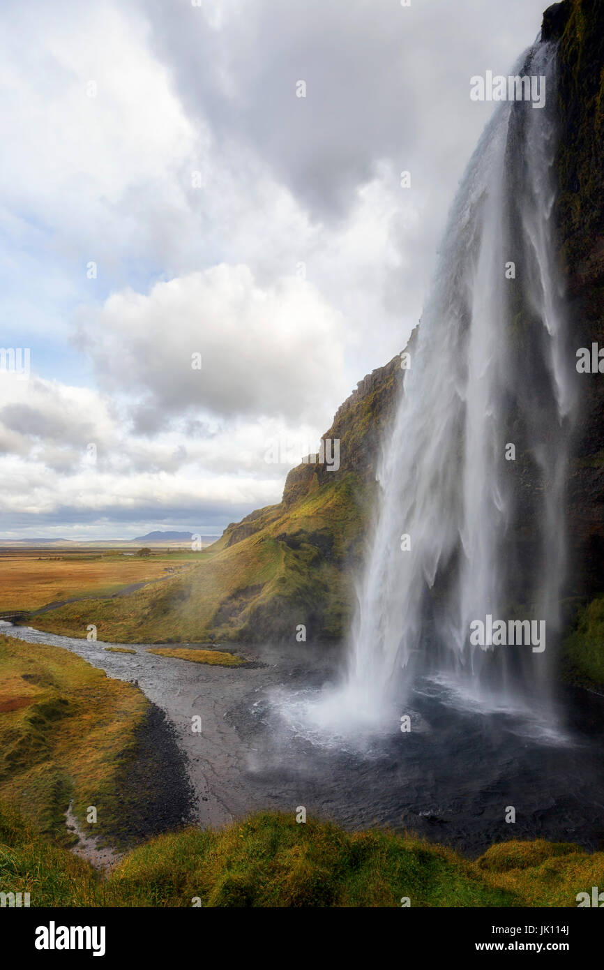Wasserfall Seljalandsfoss, Island Stockbild