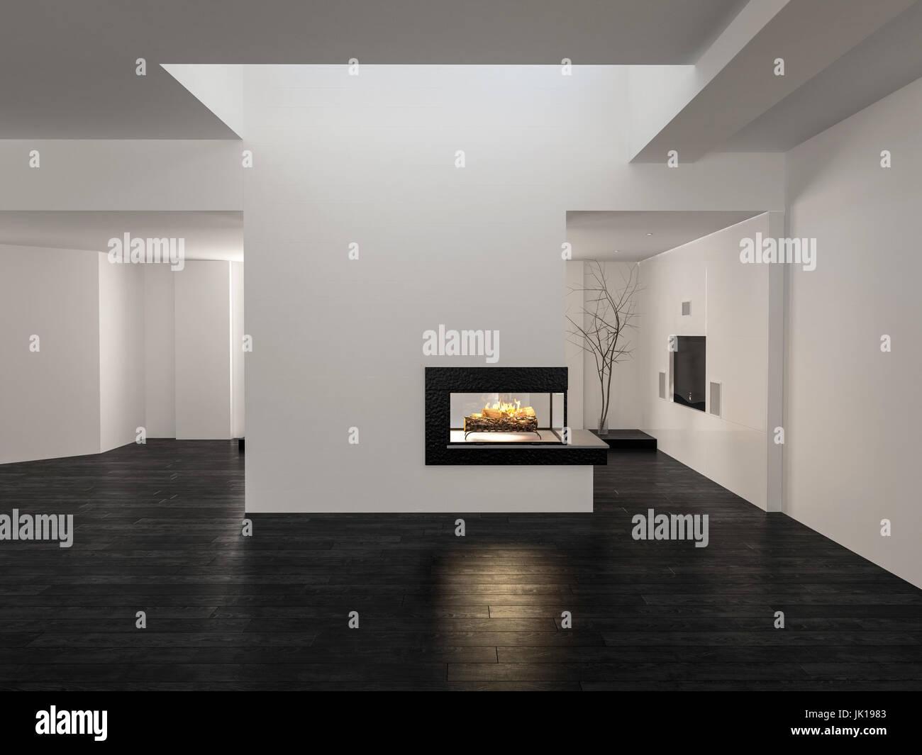 3d Fußboden Wohnzimmer ~ Große unmöblierte leere offene wohnzimmer innenraum mit weißen