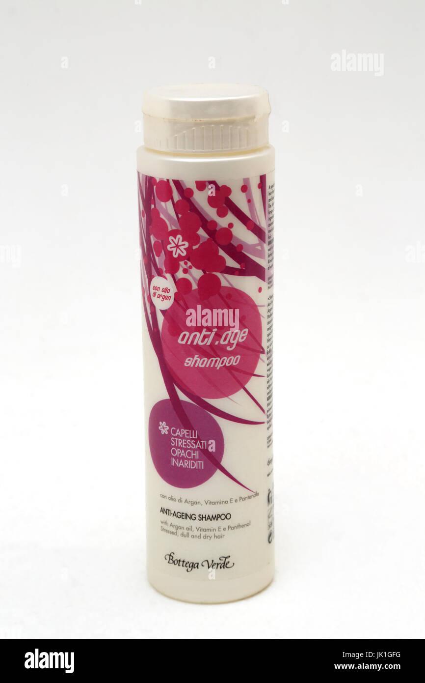 Bottega Verde-Anti-Aging-Shampoo mit Arganöl und Vitamin E Stockbild