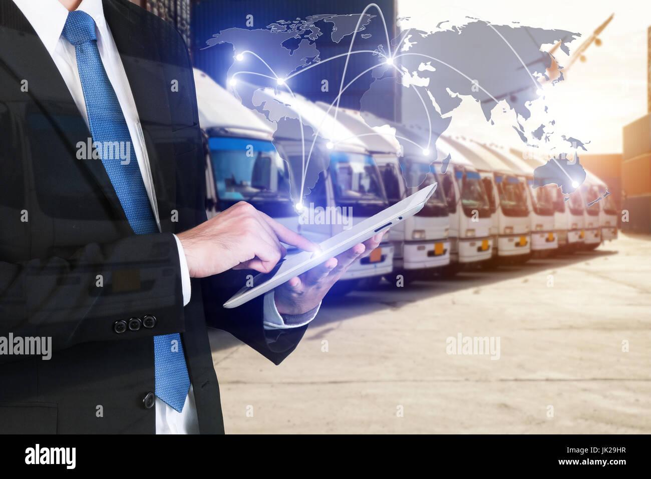 Globales Geschäft Technologie Schnittstelle globaler Partner Verbindung von Containerladung Frachtschiff für Stockbild