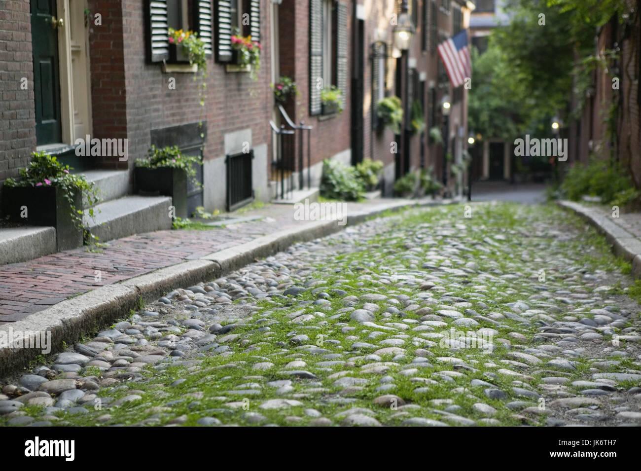 USA, Massachusetts, Boston, Beacon Hill, Acorn Street, Menschenleer, Amerika, Nordamerika, Gasse, Häuserreihe, Stockbild