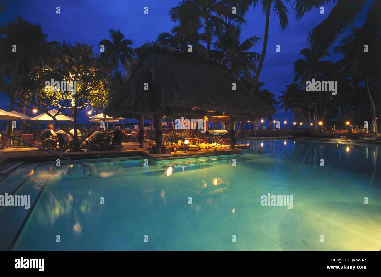 Fidschi-Inseln, Viti Levu, Insel Denarau, Sheraton Royal Denaurau Hotels, Pool, Restaurant-Terrasse, Abend Badefan, Stockbild