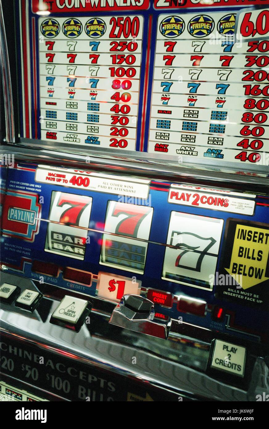 USA, Nevada, Las Vegas, Casino, Spielautomat, 'Einarmiger Bandit,' Detail Amerika Spielerstadt, Mc Carran, Stockbild