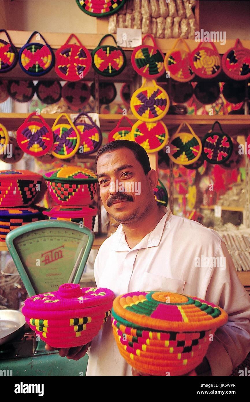 Ägypten, Assuan, Markt, Mann, leer, Taschenanhänger, Korbwaren Souk, Suk, Nubier, Kunsthandwerk, wie, Stockbild