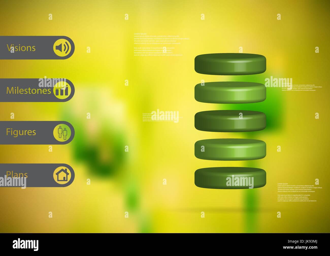 3D Illustration Infografik Vorlage mit dem Motiv des Zylinders horizontal aufgeteilt auf fünf grüne Scheiben Stockbild