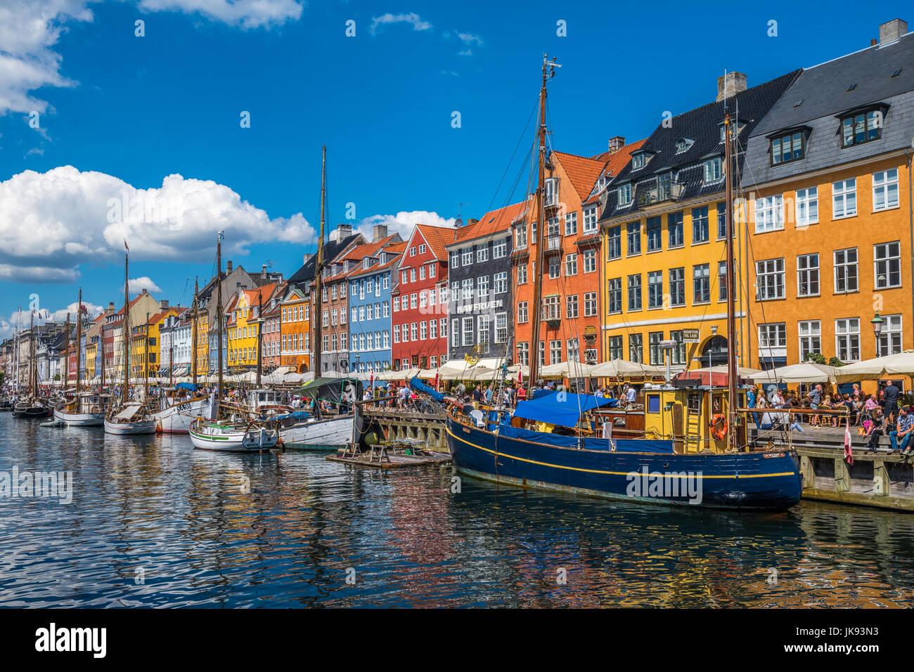 Nyhavn-Viertel ist eines der berühmtesten Wahrzeichen in Kopenhagen, Dänemark Stockbild