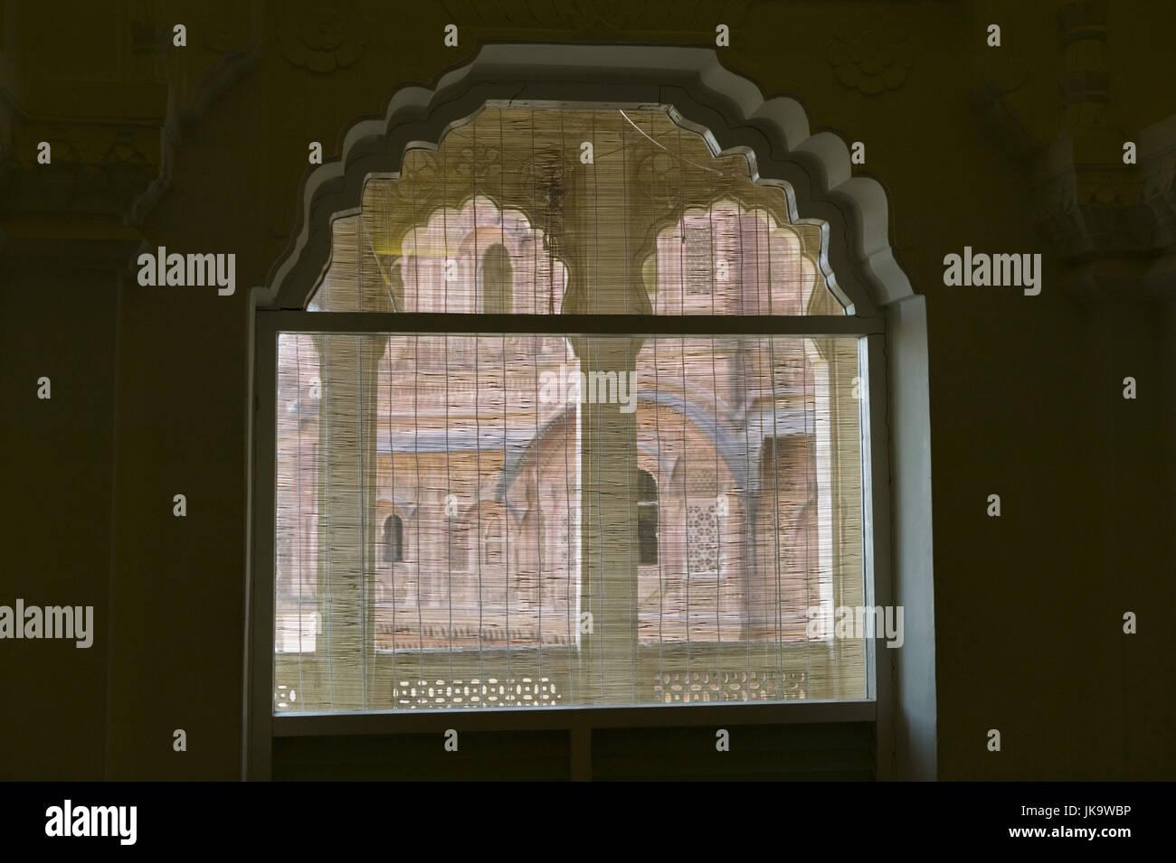 Indien, Rajasthan, Jodhpur, Meherangarh Fort, Fenster, Detail, Asien, Südasien, Reiseziel, Sehenswürdigkeit, Stockbild