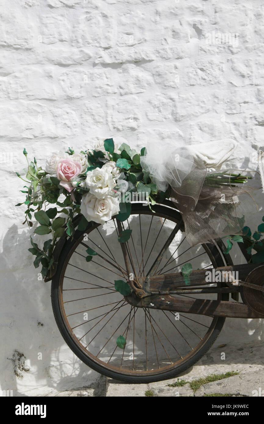 Fahrrad, Alt, Detail, Blumenschmuck, Hausmauer, Mauer, Angelehnt, Rad, Rostig, Verrostet, Blumen, Rosen, Künstlich, Stockbild
