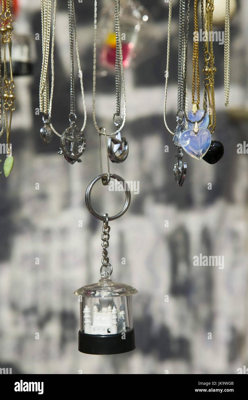 Indien, Goa, Souvenirs, Schlüsselanhänger, Taj Mahal, Detail, Asien, Südasien, Reiseziel, Tourismus, Stockbild