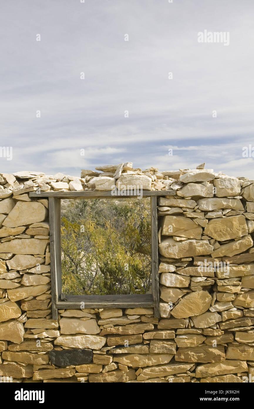 USA, Texas, Terlingua, Fachzeitung, Steinmauer, Fenster ...