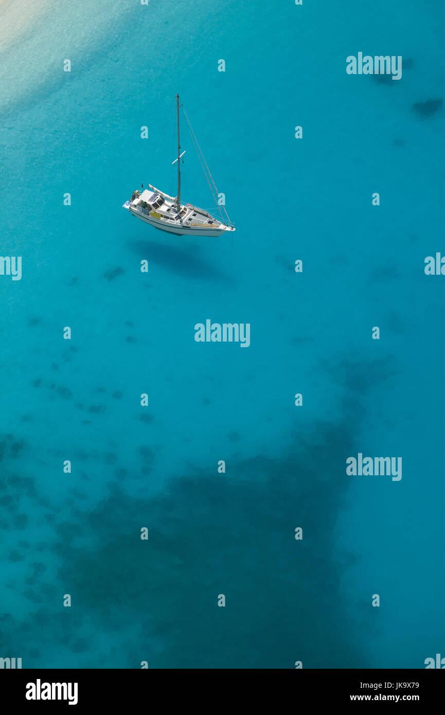 Griechenland, Ionische Inseln, Insel Zakynthos, Shipwreck Beach, Boot, von Oben, Europa, Reiseziel, Mittelmeerinsel, Stockbild