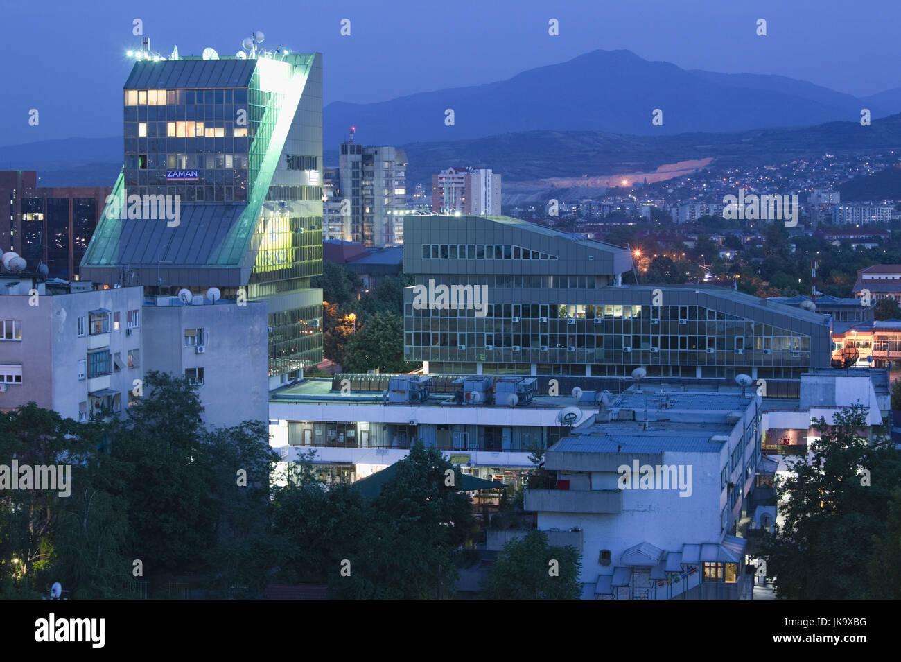 Mazedonien, Skopje, Stadtzentrum, Gebäude, Architektur, Modern, Abend, Stockbild
