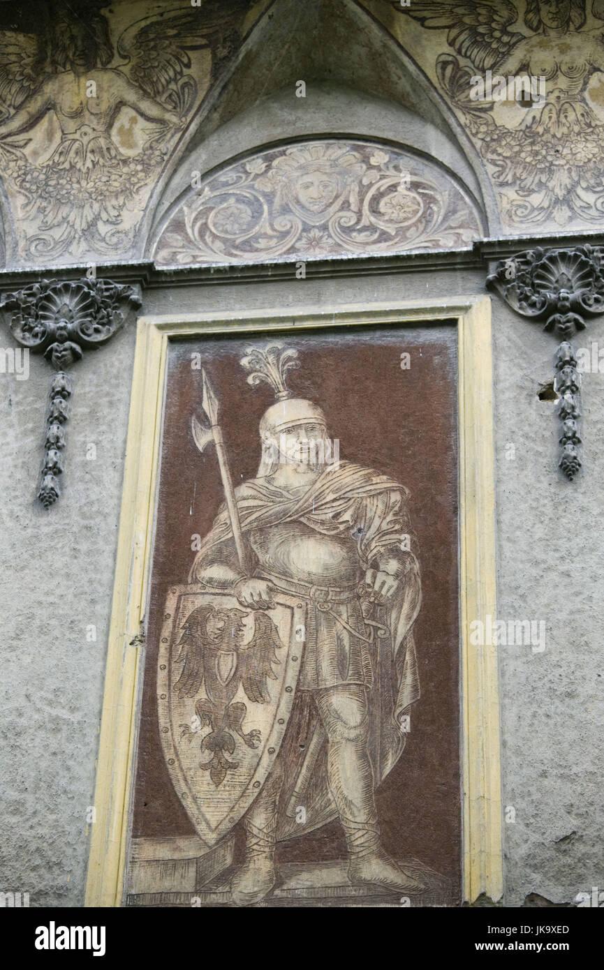 Bosnien-Herzegowina, Sarajevo, Skenderija Zentrum, Fassade, Detail, Fresko, Historisch, Stockbild