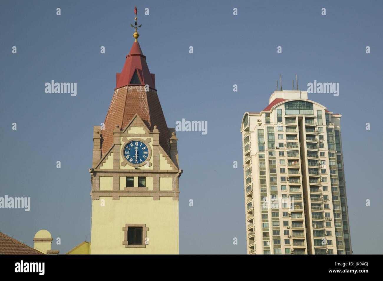 China, Qingdao, Altstadt, Bahnhof, Hochhaus, Edelstahlsockel, Detail, Asien, Ostasien, Stadt, Gebäude, Wohnhochhaus, Stockbild