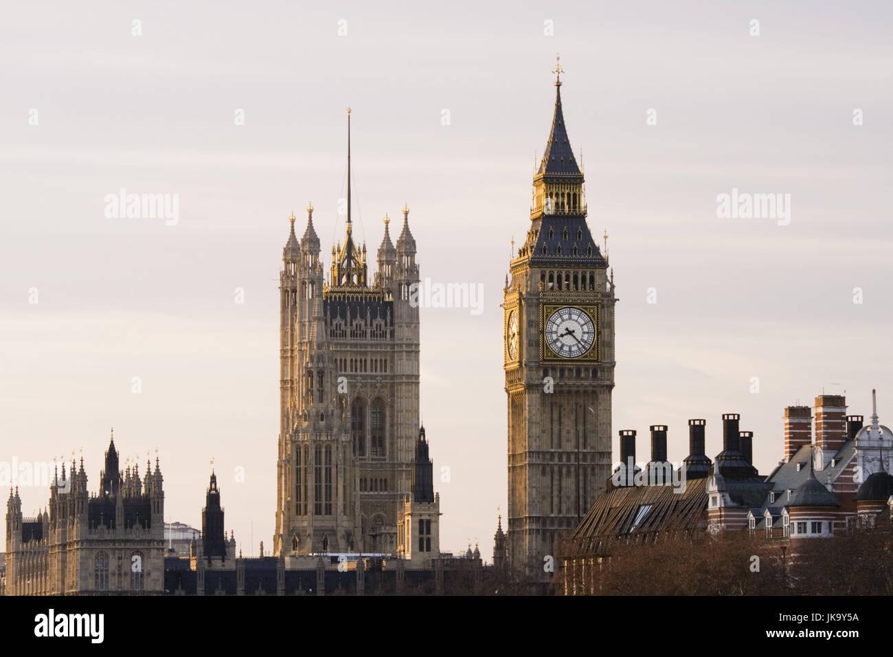 Großbritannien, England, London, Houses of Parliament, Big Ben, Victoria Tower, Morgen, Europa, Stadt, Hauptstadtkulturfonds, Stockbild
