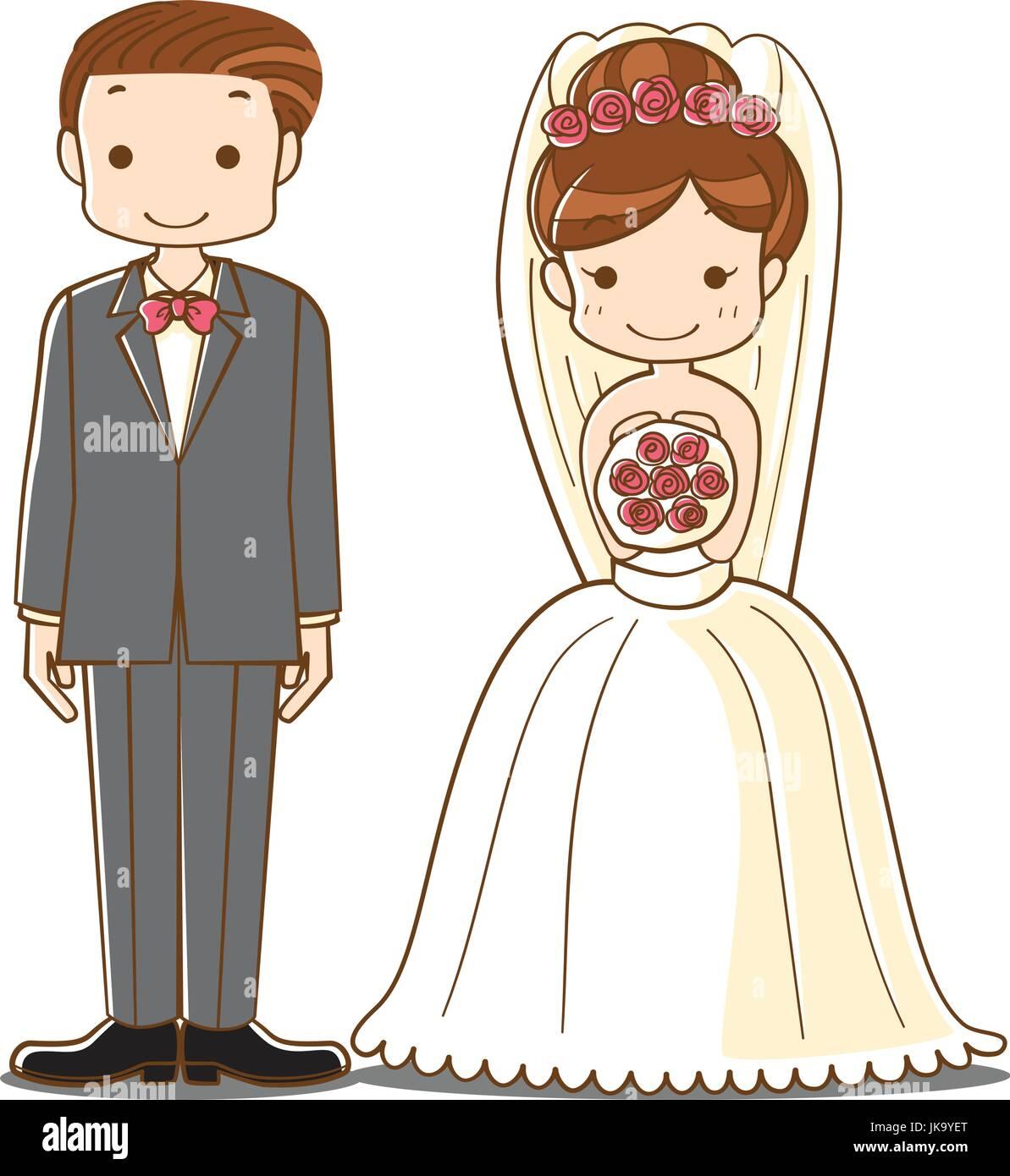 Hochzeit Paar Cartoon Susse Braut Und Brautigam Brautpaar Charakter
