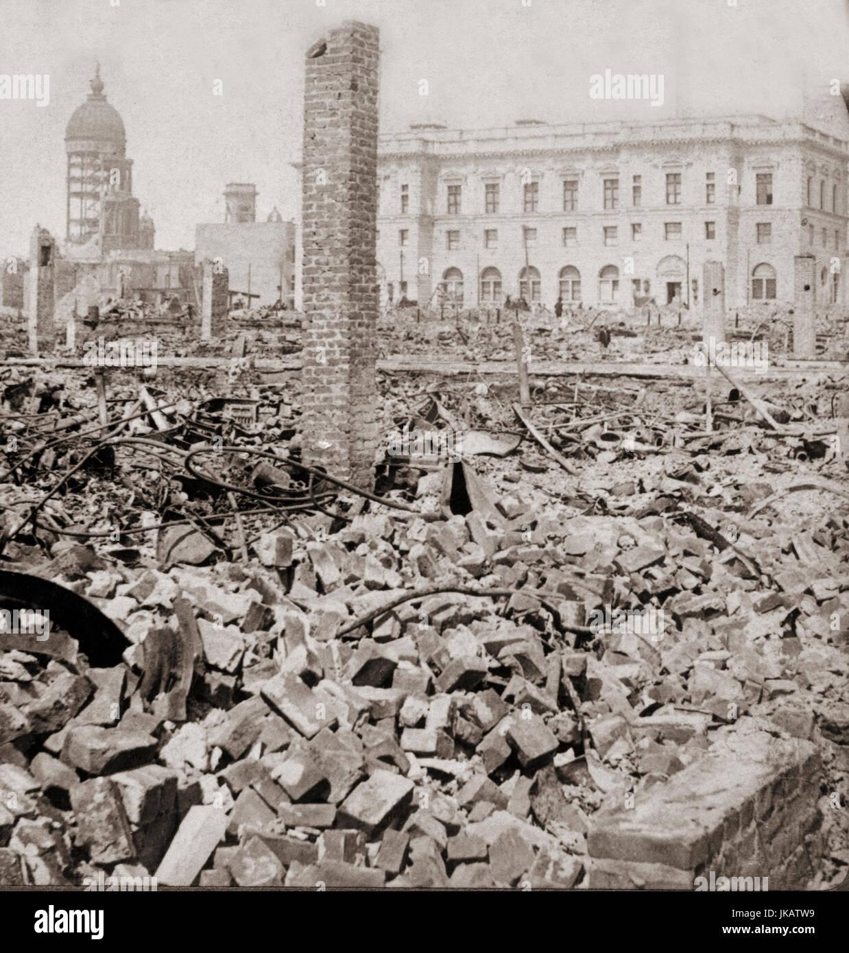 Erdbebenschäden auf San Francisco 18. April 1906, USA zeigt die noch stehende post Office und Rathaus Stockfoto