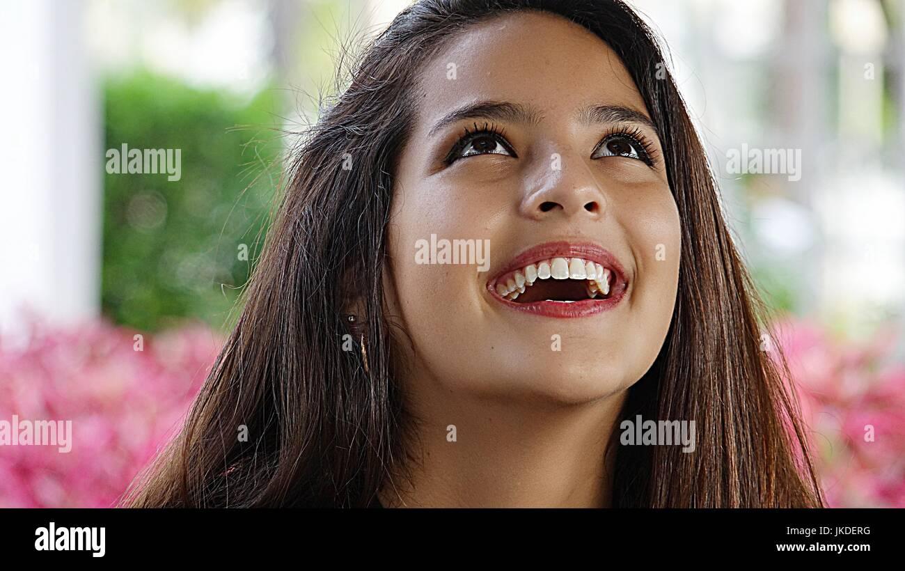 Lachende Jugendliche weiblich Stockbild