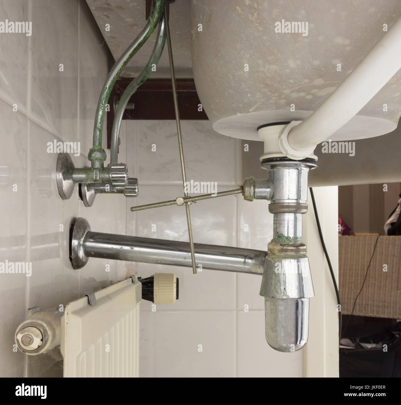 Becken Siphon Oder Waschbecken Abfluss Im Badezimmer Schmutzig