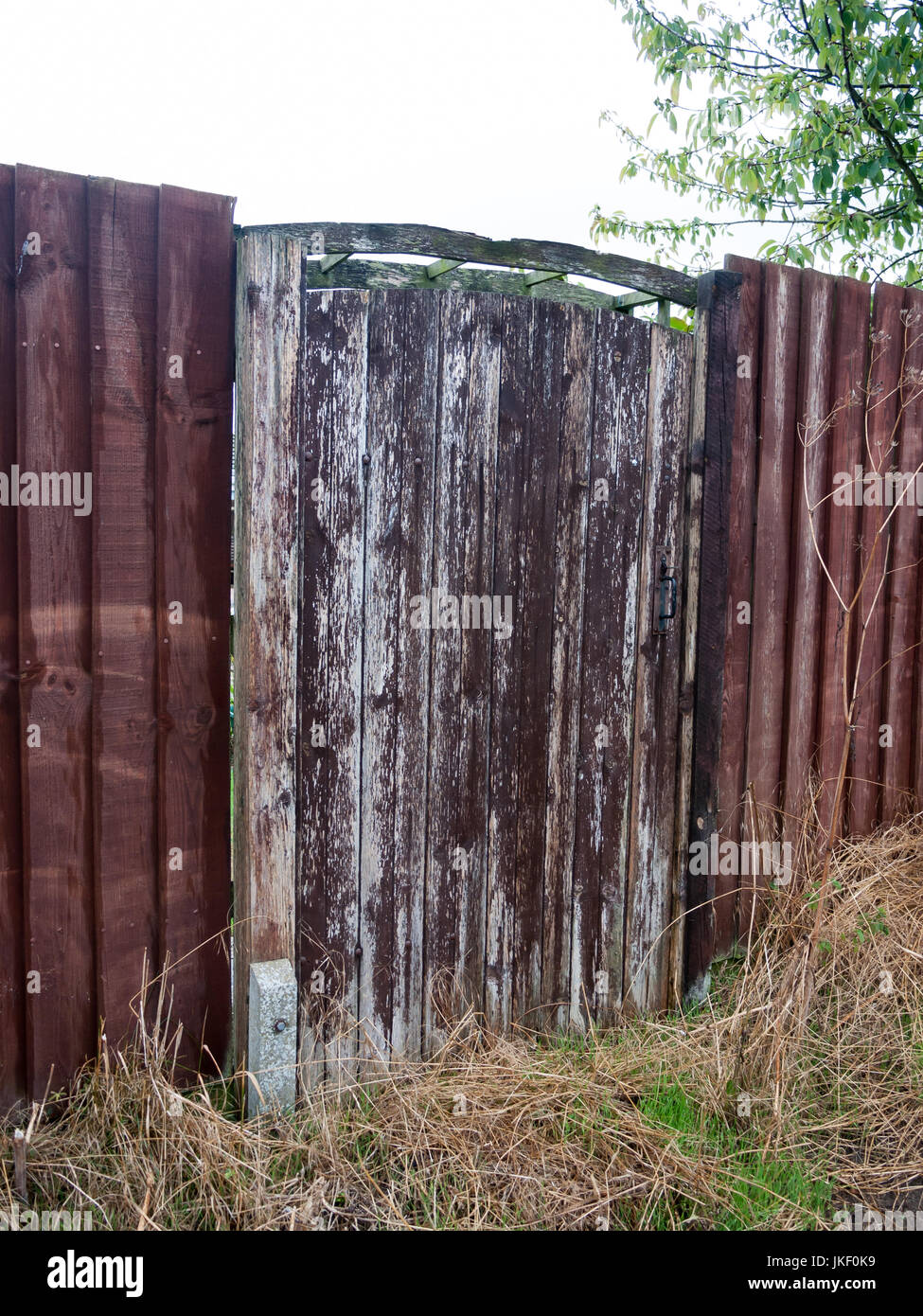 Hedge Wooden Fence Fencing Stockfotos & Hedge Wooden Fence Fencing