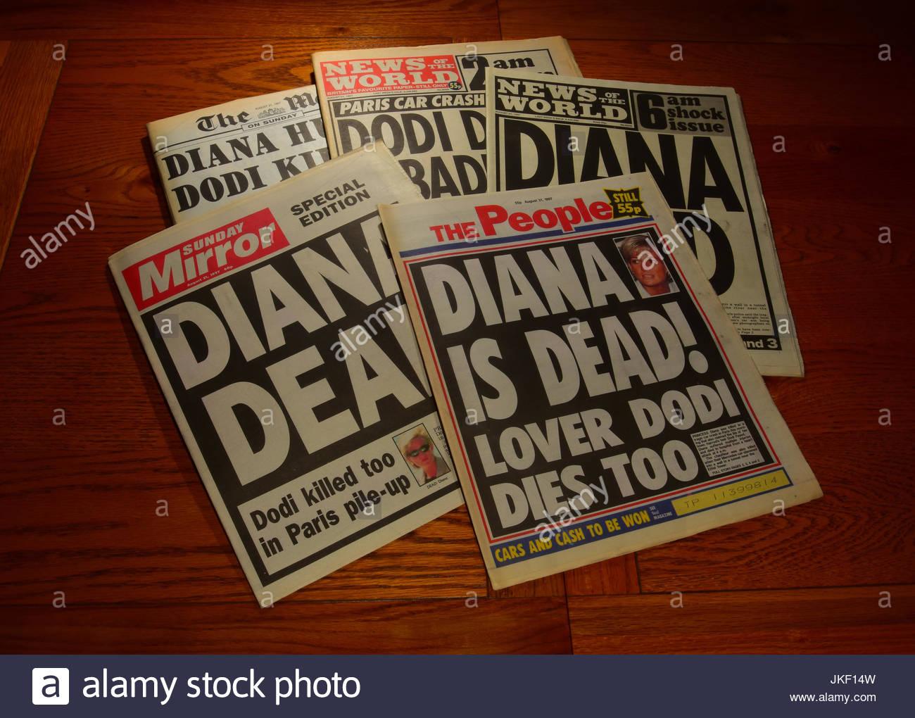 Diana tot Zeitungen 1997 Stockbild