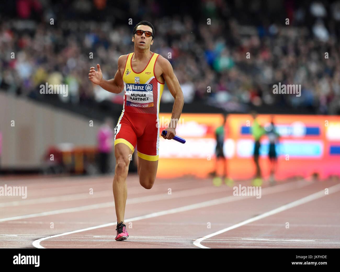 LONDON-ENGLAND - 23. Juli 2017: Joan Munar Martinez (EPS) in Männer 4x100m Staffel T11-13 Finale während Stockbild