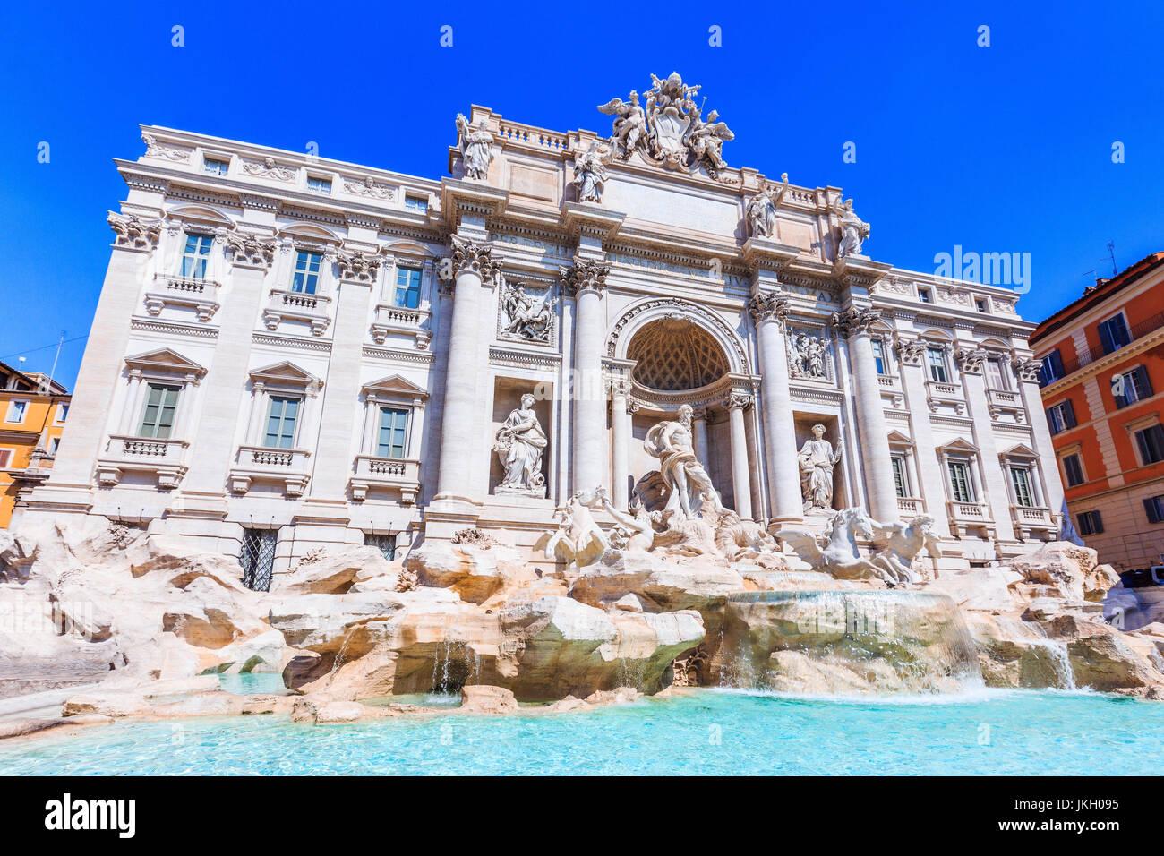 Rom, Italien. Trevi-Brunnen (Fontana di Trevi) berühmteste Brunnen Roms. Stockbild