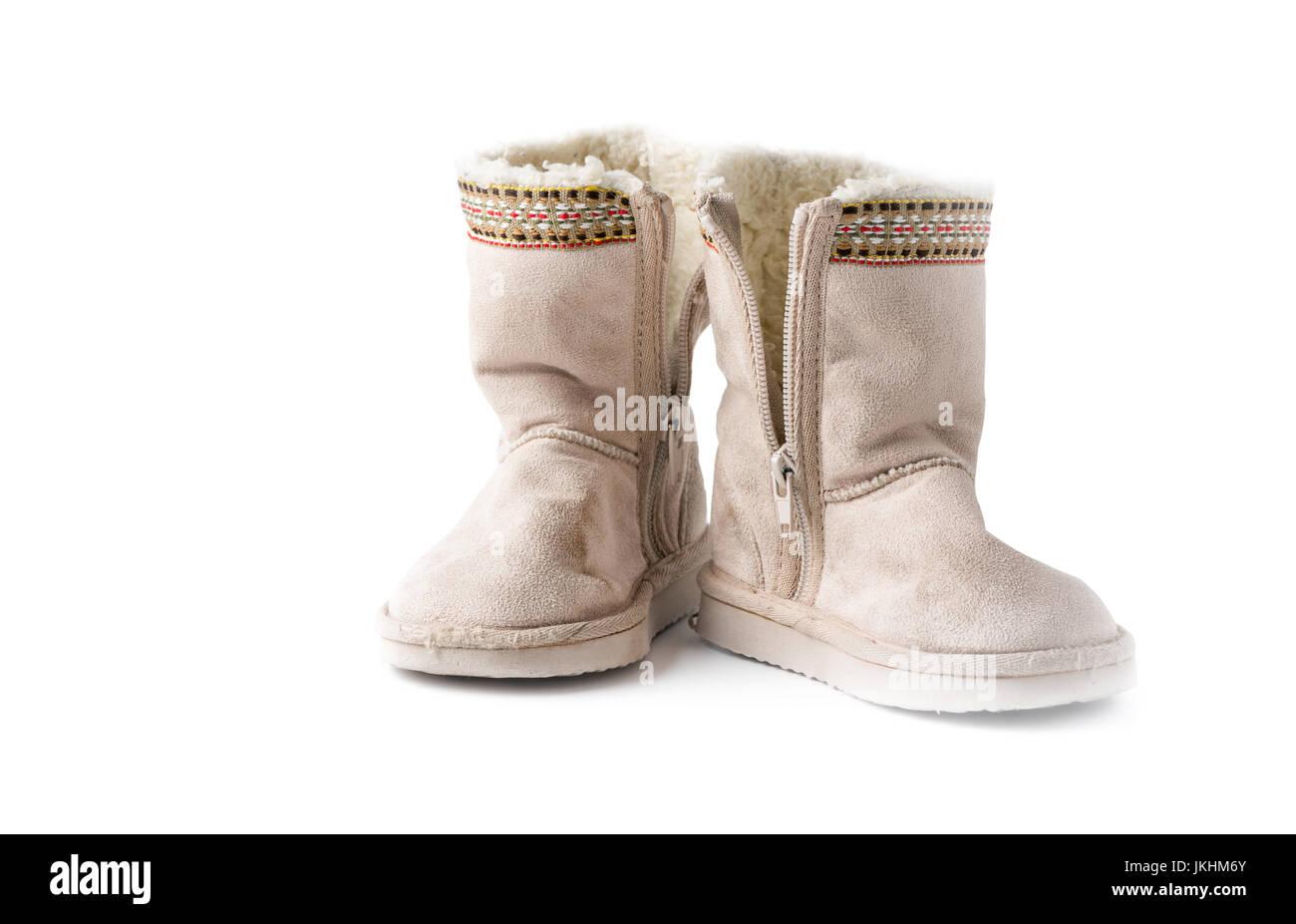 Leder Damen Stiefel mit Fell. X4YWE0 (RF). Kinder warme Winterstiefel mit Fell  isoliert auf weißem Hintergrund Stockbild 5ba44128b4
