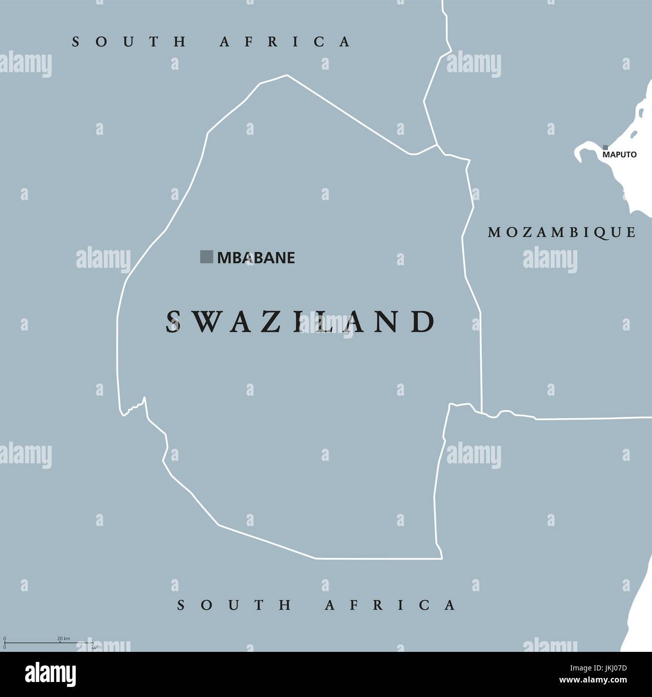 Swasiland Politische Karte Mit Hauptstadt Mbabane Konigreich Von Eswatini Manchmal Genannt Kangwane Souveraner Staat Und Binnenstaat Im Sudlichen Afrika Stockfotografie Alamy