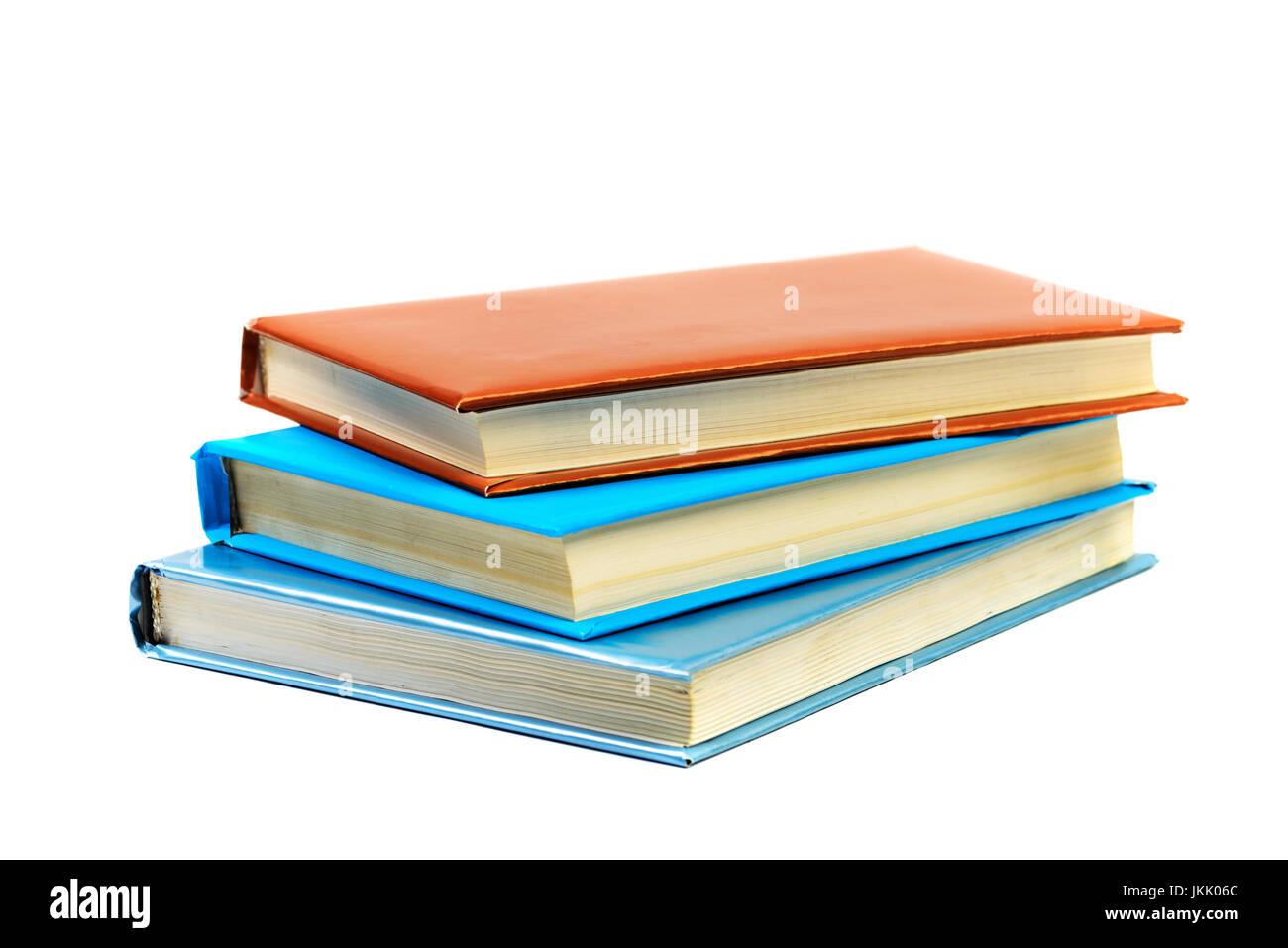 Haufen Bücher isoliert auf weißem Hintergrund Stockfoto