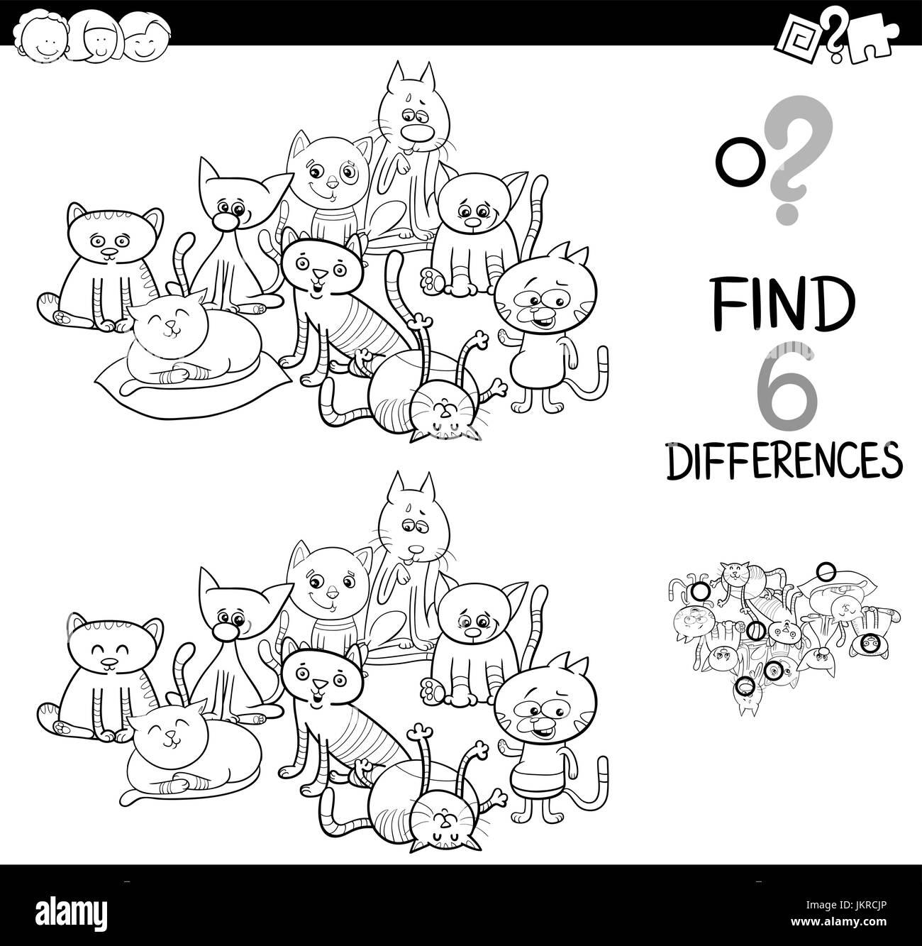 Schwarz Weiß Cartoon Illustration Der Vor Ort Die Unterschiede
