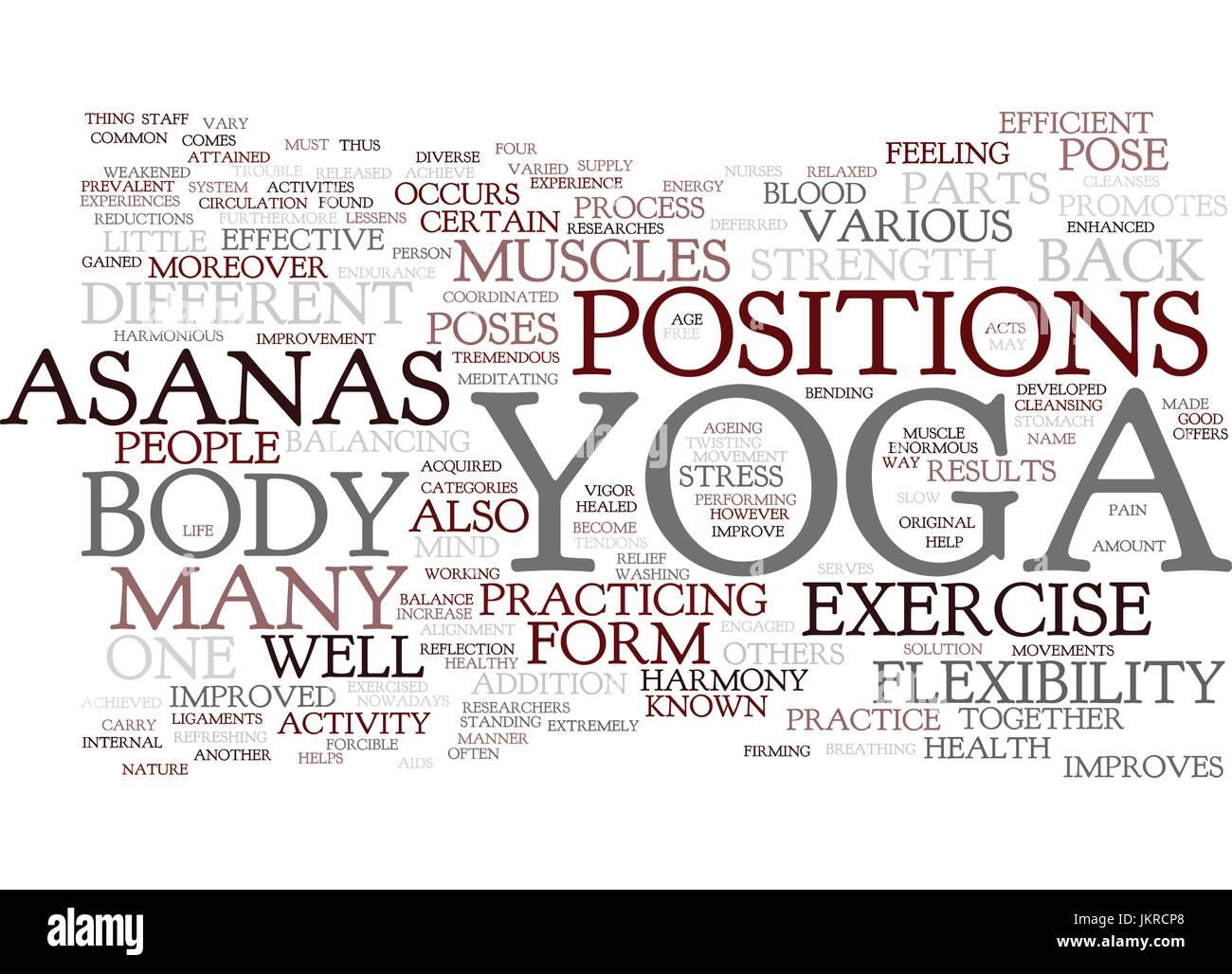 Yoga Asanas Text Hintergrund Word Cloud Konzept Vektor Abbildung