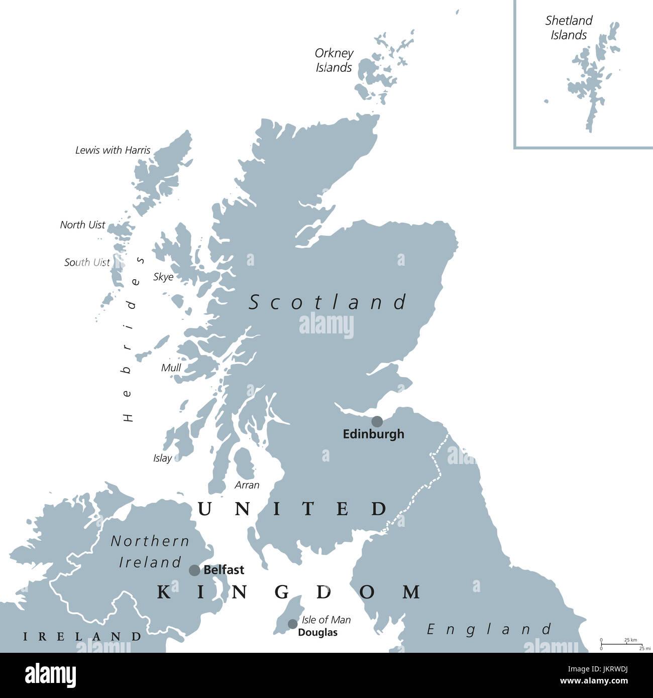 schottland landkarte mit hauptstadt edinburgh land und teil des vereinigten k nigreichs. Black Bedroom Furniture Sets. Home Design Ideas
