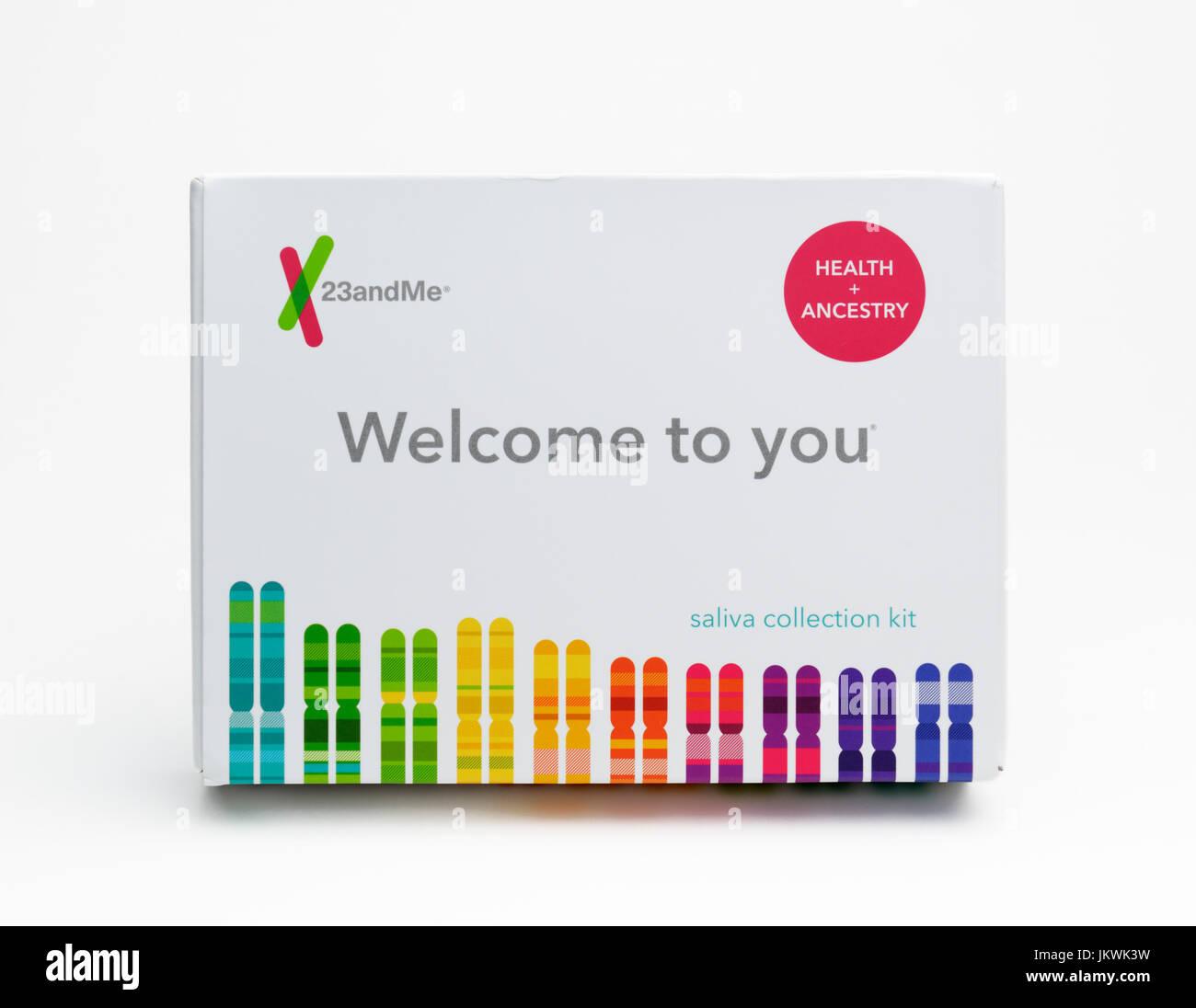 Nach Hause Speichel sammeln Kit für Gentests Abstammung und Gesundheit Gene zu konsumieren Stockbild