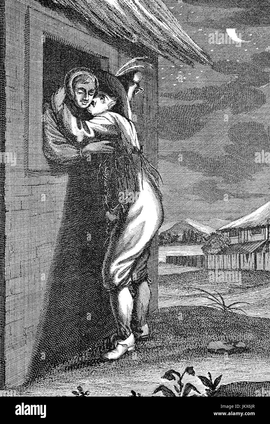 Digital verbessert:, der Bauer heimlich nachts am Fenster seiner Geliebten, Kupfer Gravieren von Augsburg, Veröffentlichung Stockbild